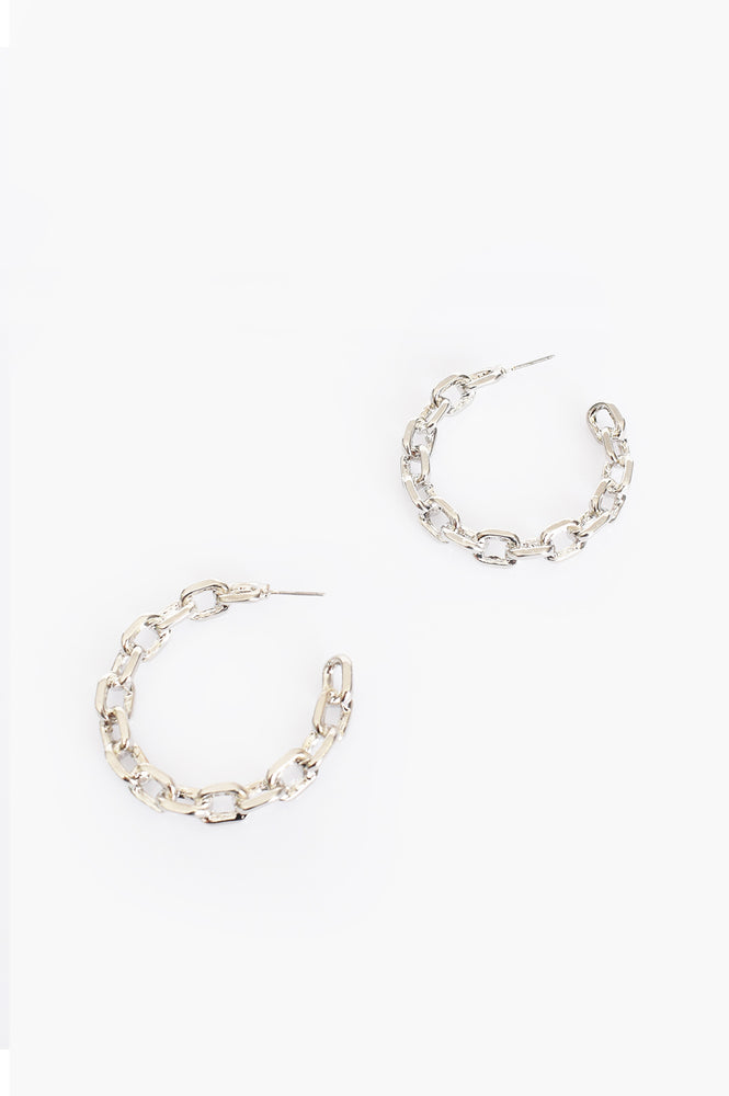 Tilly Chain Hoop Earrings (Silver)