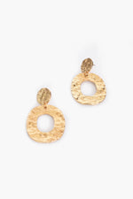Textured Metal Oval Drop Earrings (Gold)