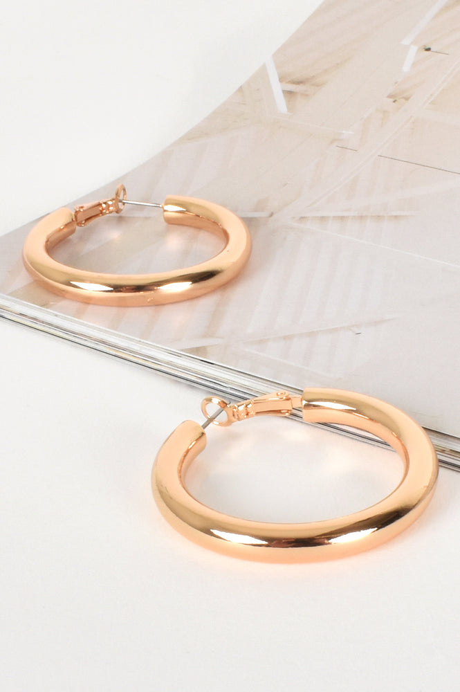 Mickey Midi Tube Hoop Earrings (Gold)
