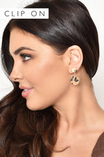 Metal Button Hide Disc Clip On Earrings (Tan/Gold)