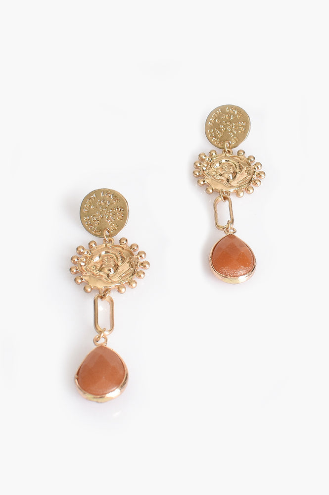 Moulded Metal Stone Drop Earrings (Peach/Gold)
