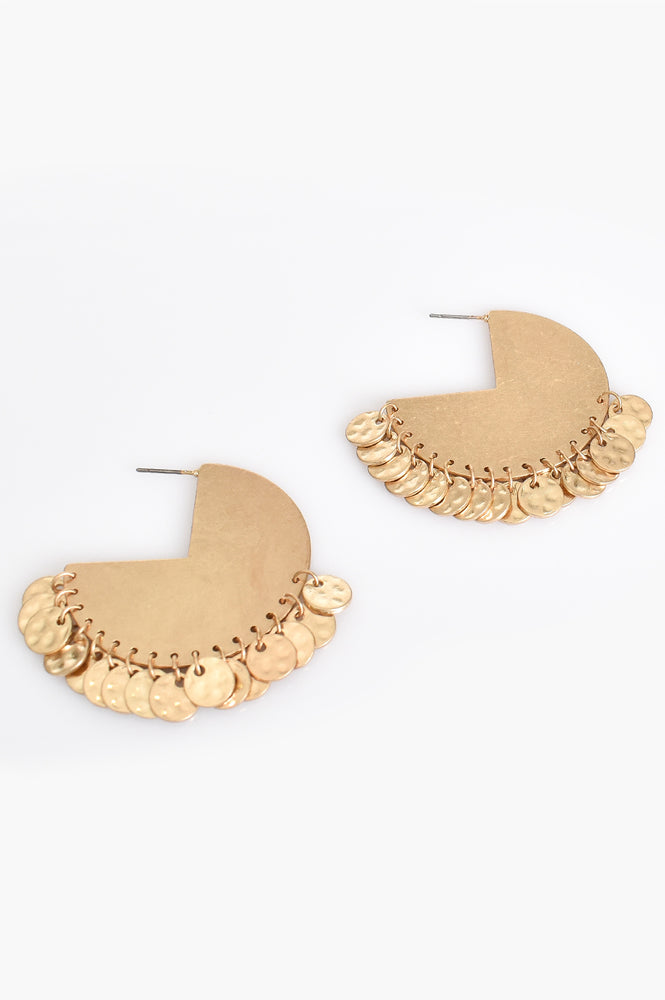 Mini Coin Solid Hoop Earrings (Gold)