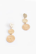 Tri Coin Drop Earrings (Gold)