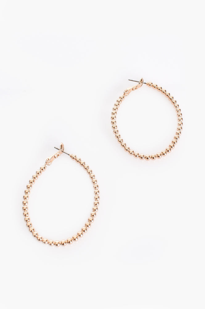Beaded Ball Hoop Earrings (Gold)