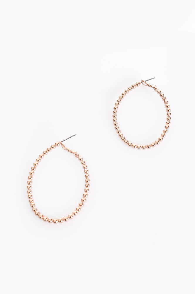 Beaded Ball Hoop Earrings (Rose)