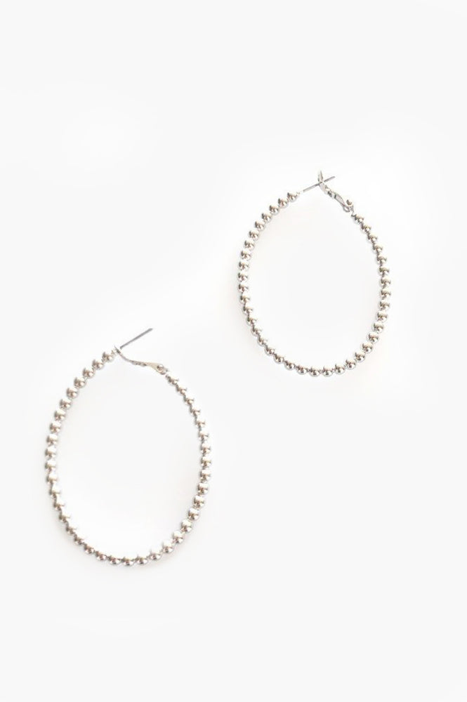 Beaded Ball Hoop Earrings (Silver)