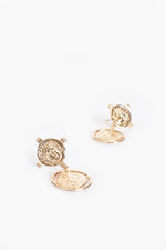 Double Roman Coin Stud Earrings (Gold)
