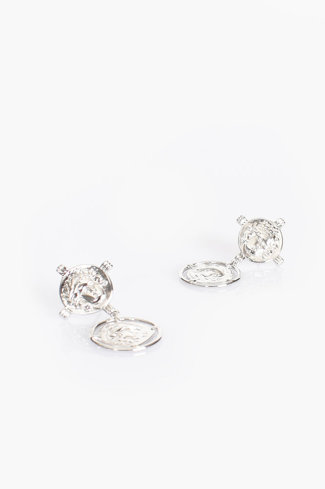 Double Roman Coin Stud Earrings (Silver)