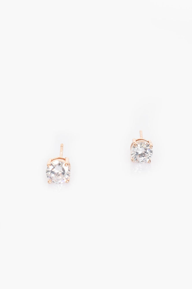 CZ Stud Earring (Crystal/Rose)