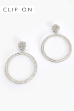 Ring Drop Diamante Clip On Earrings (Crystal/Silver)