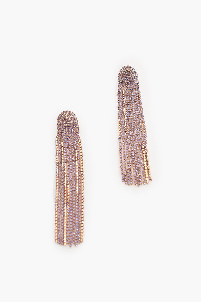 Dripping Diamantes Stud Earrings (Lilac/Gold)