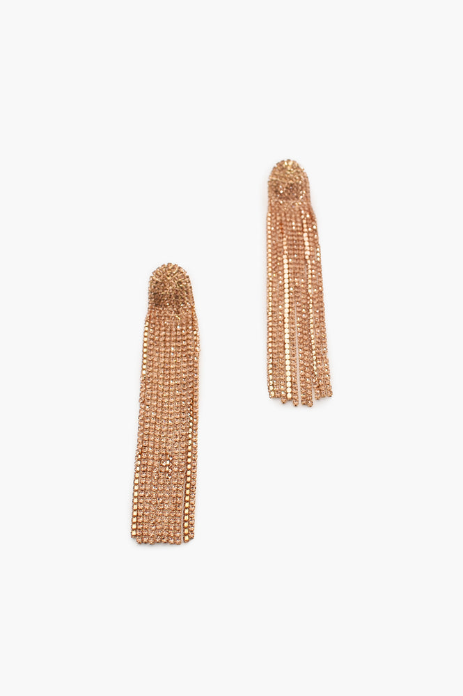 Dripping Diamantes Stud Earrings (Peach/Gold)