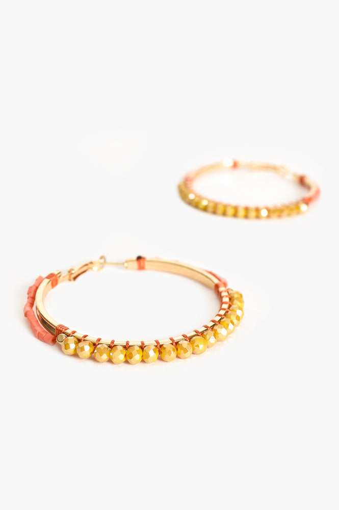 Beaded Hoop Earrings (Peach/Mustard)