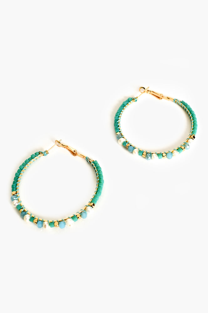 Freshwater Pearl & Bead Hoop Earrings (Turquoise/Cream)