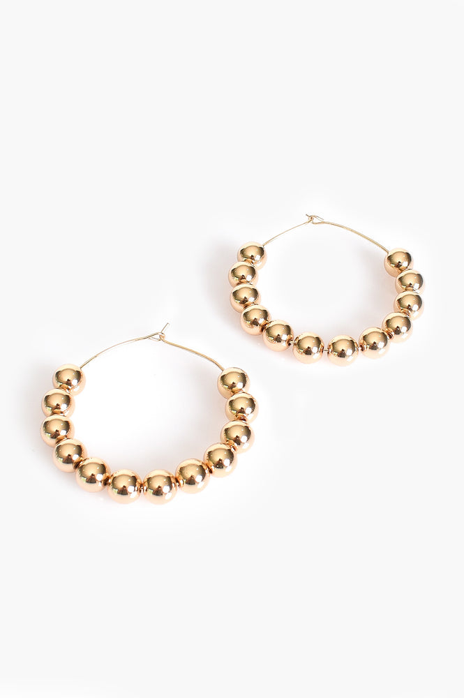 8mm Alexa Beaded Ball Hoop (Gold)