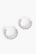8mm Alexa Beaded Ball Hoop (Silver)