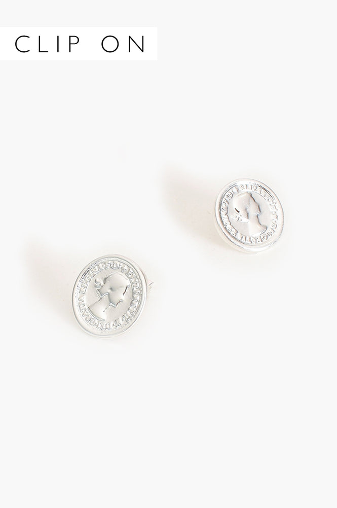 Coin Clip On Earrings (Silver)