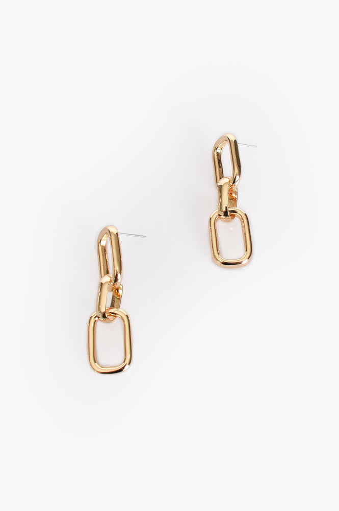 Chain Link Drop Earrings (Gold)