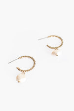 Mini Ball & Freshwater Pearl Drop Hoop Earrings (Gold/Cream)