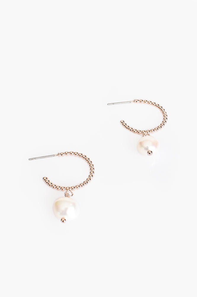 Mini Ball & Freshwater Pearl Drop Hoop Earrings (Rose/Cream)