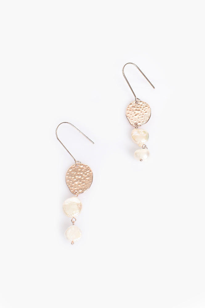 Freshwater Pearl Drop Thread Through Earrings (Rose/Cream)