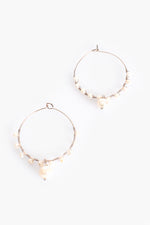 Mini Freshwater Pearl Drop Hoop Earrings (Rose/Cream)