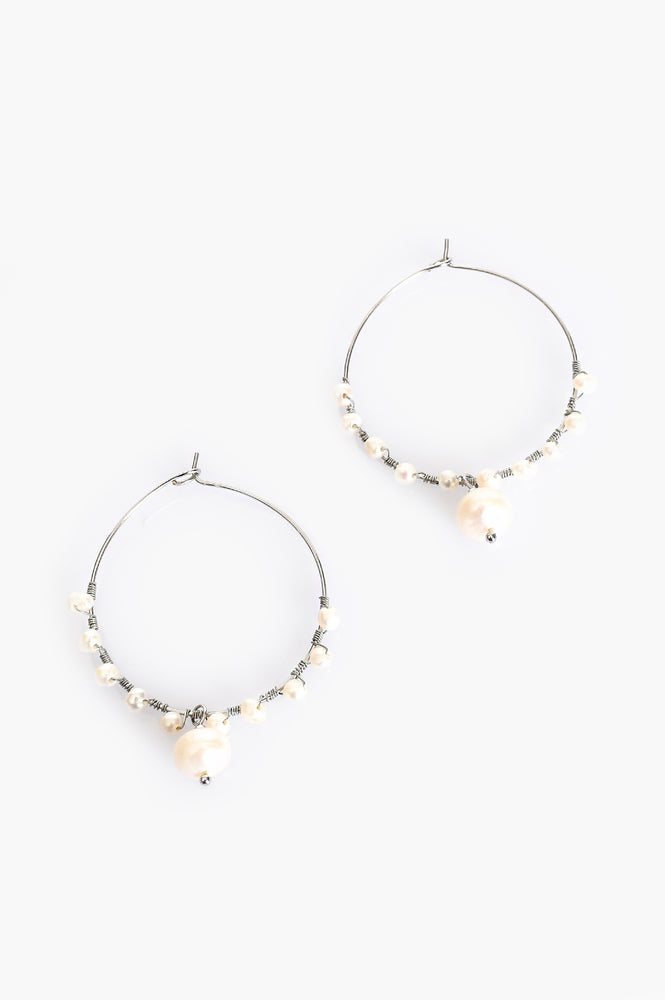 Mini Freshwater Pearl Drop Hoop Earrings (Silver/Cream)