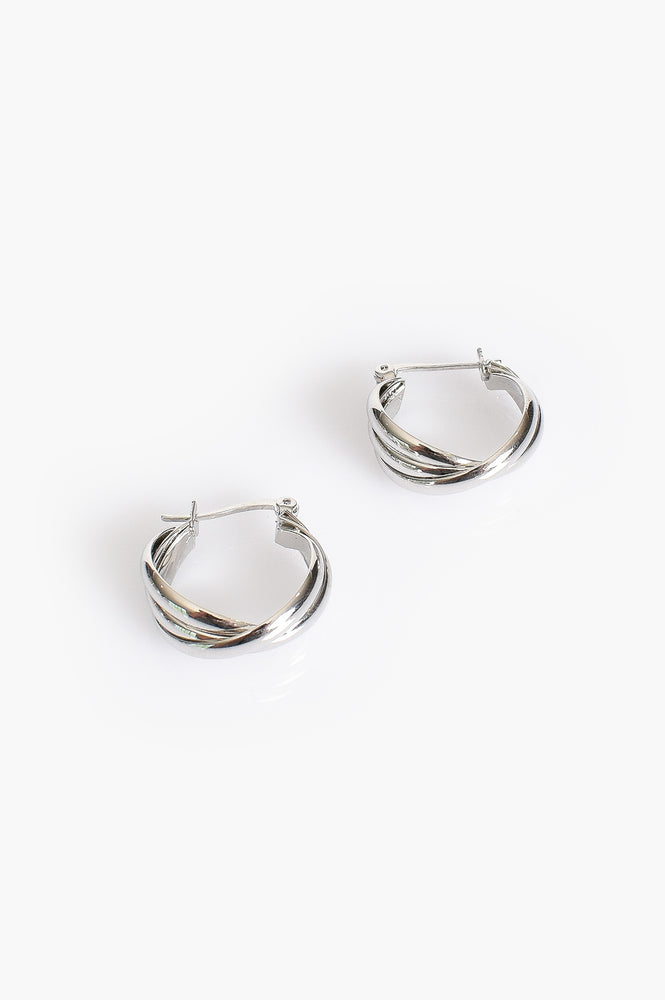 Twisted Hoop Earrings (Silver)