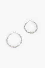 Metal Twisted Hoop Earrings (Silver)