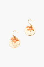 Mini Bead Cluster Disc Earrings (Camel/Gold)