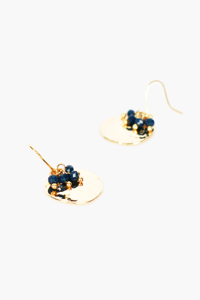 Mini Bead Cluster Disc Earrings (Navy/Gold)