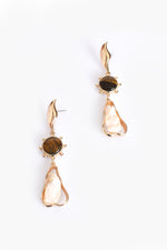 Tiger Stone Ball Edge Shell Drop Earrings (Gold)