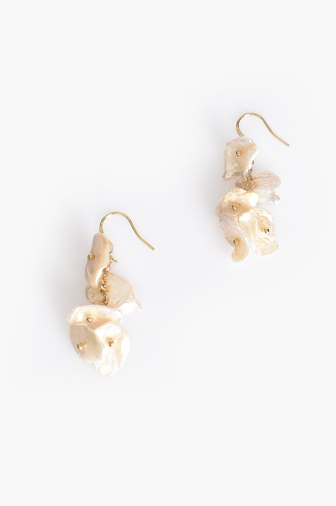 Pearl Disc Strand Hook Earrings (Gold/Cream)