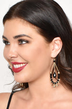 Bead & Stone Chain Drop Earrings (Crystal/Gold)