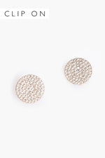 CZ Disc Clip On Earrings (Gold/Crystal)