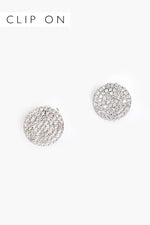 CZ Disc Clip On Earrings (Silver/Crystal)
