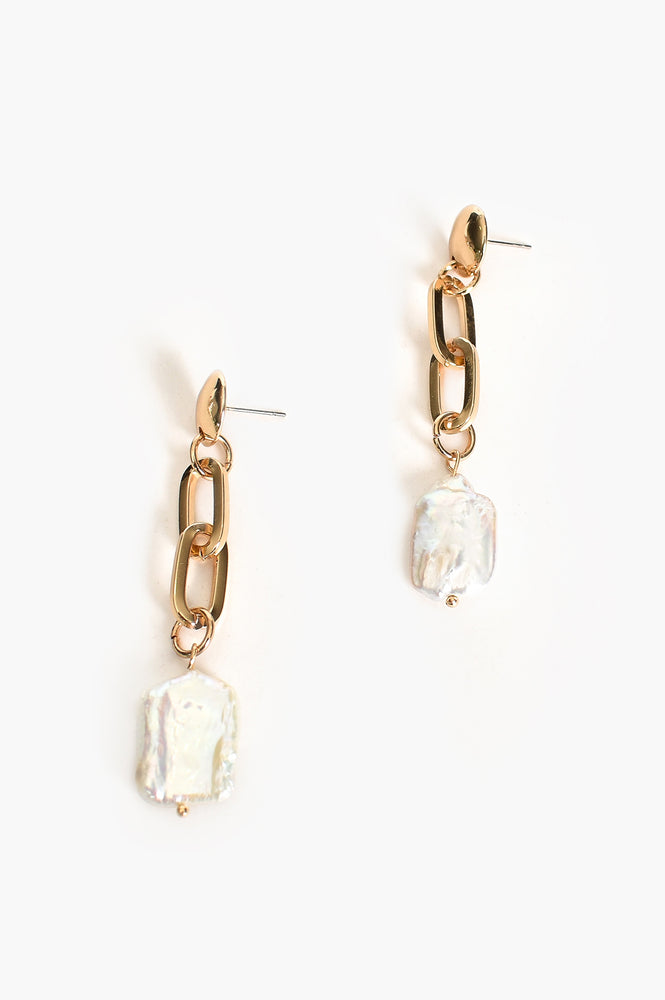 Pearl Linked Drop Earrings (Gold/Cream)