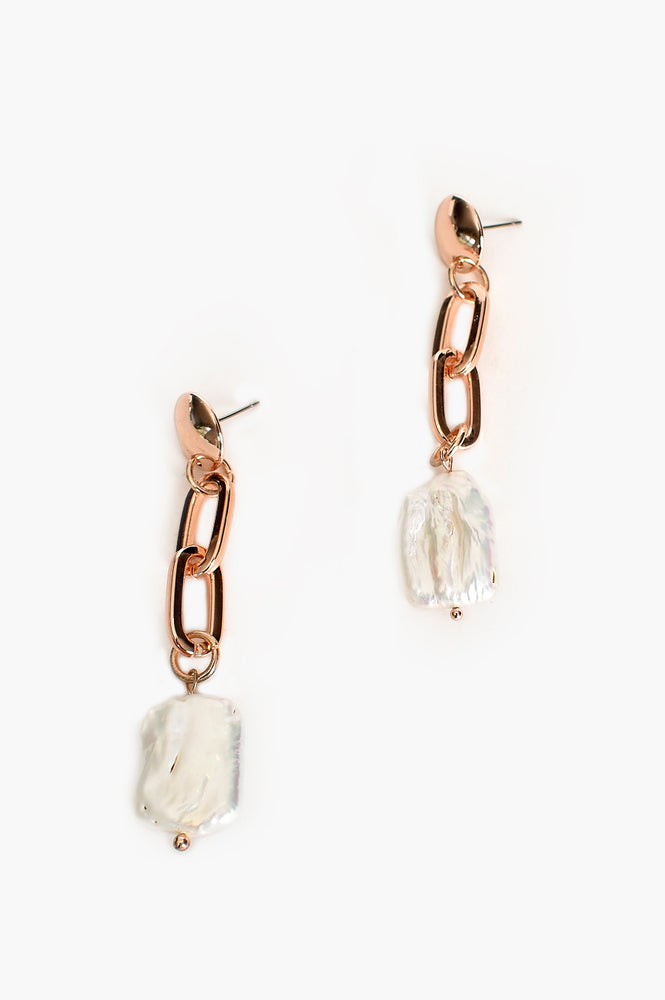 Pearl Linked Drop Earrings (Rose/Cream)