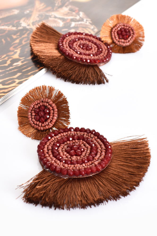 Tallulah Bead Fringe Earrings (Chocolate)