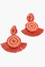 Tallulah Bead Fringe Earrings (Coral)