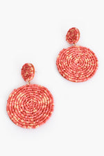 Tia Duo Bead Drop Earrings (Warm Coral)