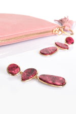 Marble Look Drop Earrings (Berry/Gold)