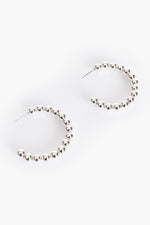 Mini Ball Hoop Earrings (Silver)