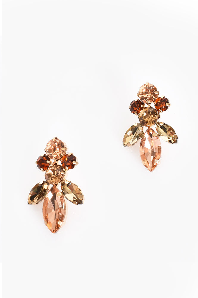 Small Jewelled Earrings (Peach/Gold)