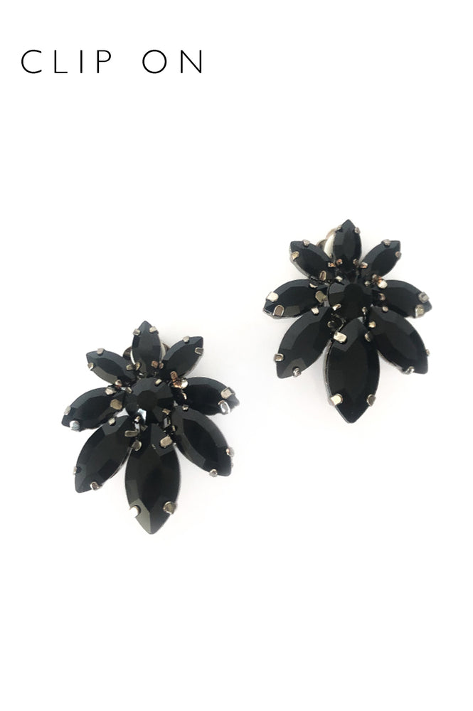 Small Flower Jewelled Clip On Earrings (Black/Gunmetal)
