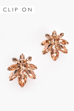 Small Flower Jewelled Clip On Earrings (Peach/Gold)