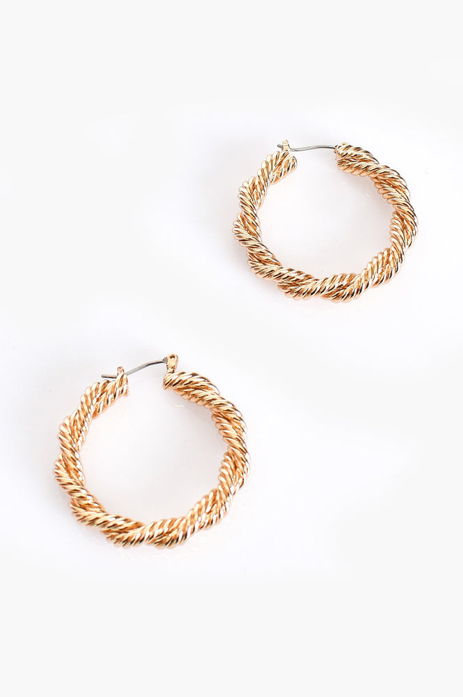 Double Twist Rope Hoop Earrings (Gold)