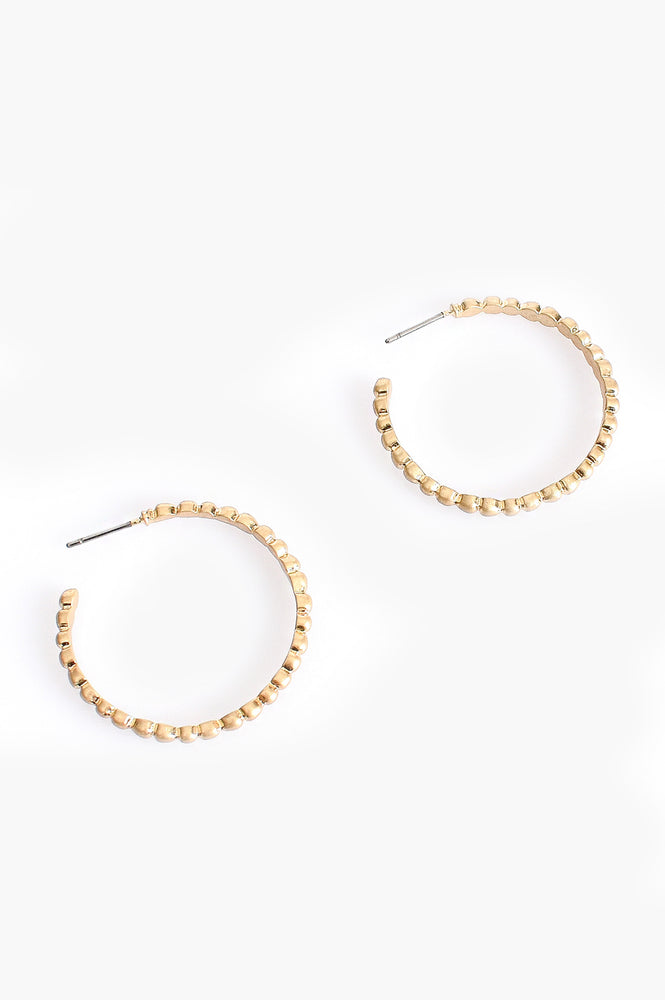 Fine Ridged Open Hoop Earrings (Gold)
