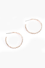 Fine Ridged Open Hoop Earrings (Rose)