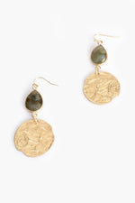 Stone Teardrop and Circle Earrings (Green/Gold)